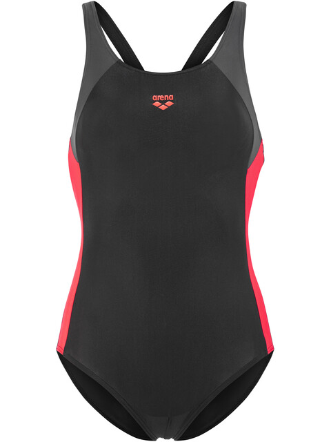 arena Ren One Piece Swimsuit Girls black-deep grey-fluo red
